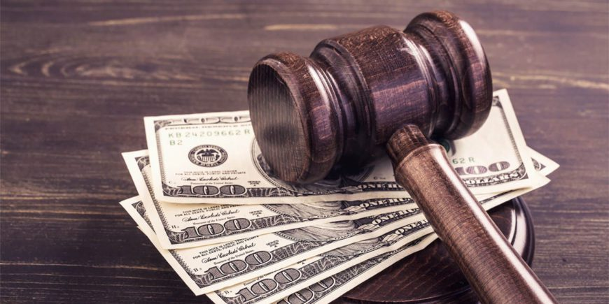 $100 bills and a gavel